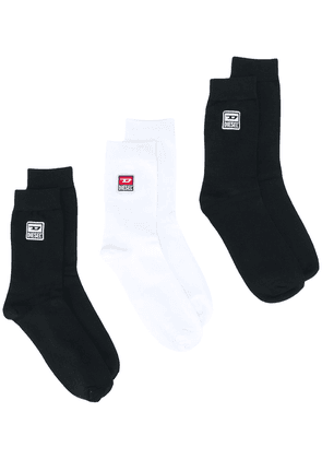 Diesel three-pack logo socks - Black