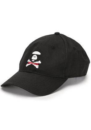 AAPE BY *A BATHING APE® Apunks crossbones embroidered cap - Black