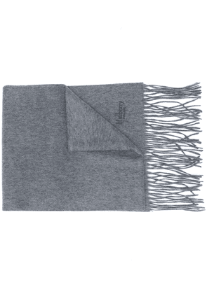 Mulberry embroidered logo cashmere scarf - Grey