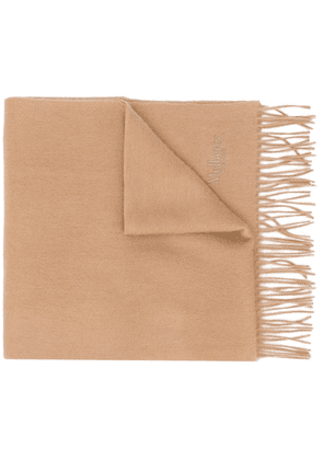 Mulberry embroidered logo lambswool scarf - Brown