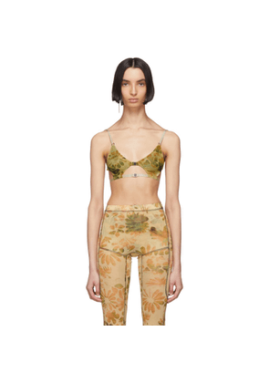 Charlotte Knowles SSENSE Exclusive Green Floral Vyper Bra