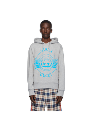 Gucci Grey Logo Disk Print Oversized Hoodie