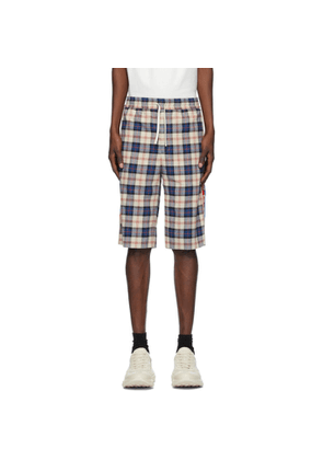 Gucci Beige and Blue Flannel Check Shorts