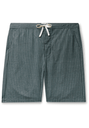 Oliver Spencer Loungewear - Townsend Striped Organic Cotton Pyjama Shorts - Men - Green
