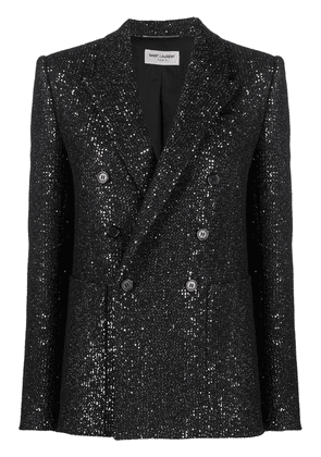Saint Laurent double-breasted glitter blazer - Black