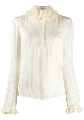 Saint Laurent ruffled high neck blouse - NEUTRALS