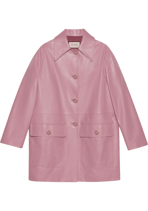 Gucci single-breasted leather coat - PINK