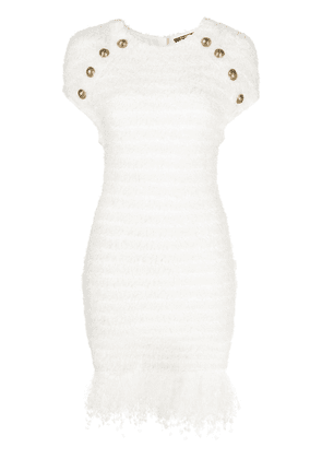 Balmain fitted tweed dress - White