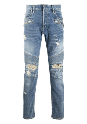 Balmain distressed slim-fit jeans - Blue