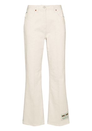 Gucci logo patch flared jeans - White