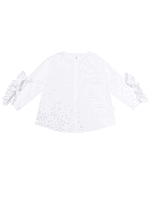 Ruffle-trimmed stretch-cotton blouse
