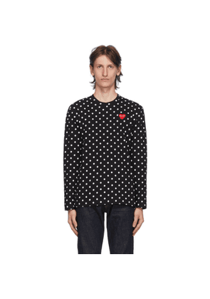 Comme des Garcons Play Black and White Polka Dot Heart Patch Long Sleeve T-Shirt