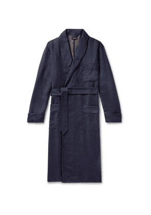 Sulka - Silk-Trimmed Herringbone Cashmere Robe - Men - Blue