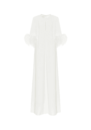 Exclusive to Mytheresa – Feather-trimmed crêpe gown
