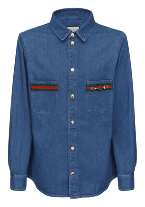 Gg Patch & Web Cotton Denim Shirt