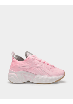 Manhattan Overdyed Sneakers in Fluo Pink Leather