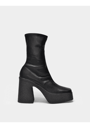 Platform Boots in Black Synthetic Leather