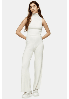 Womens Ivory Knitted Trousers - Ivory, Ivory