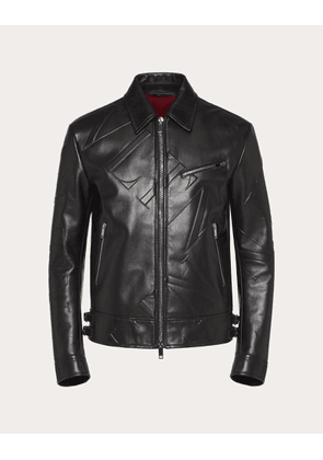 Valentino Uomo Vltn Grid Leather Jacket Man Black Cowhide 100% 46