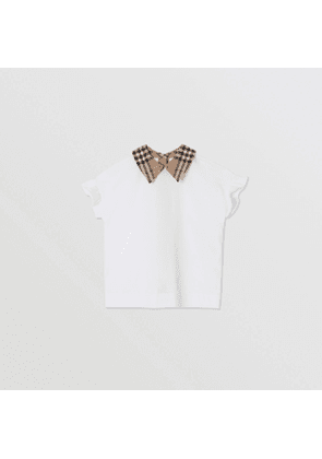 Burberry Childrens Vintage Check Detail Ruffled Sleeve Cotton T-shirt, White