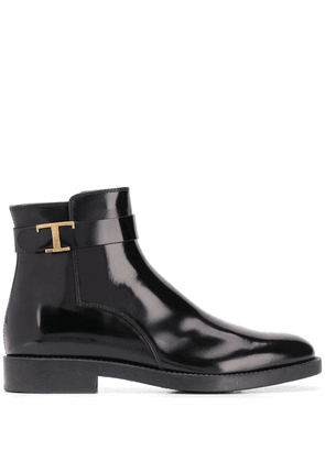 Tod's logo plaque side zip ankle boots - Black