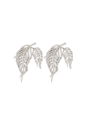 Apples & Figs Sterling silver Hermes crystal feather earrings -