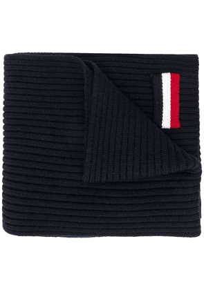 Moncler striped patch scarf - Blue
