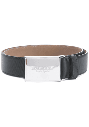 Burberry Brass Plaque Buckle Trench Leather Belt - Black