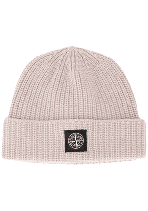 Stone Island ribbed wool beanie hat - NEUTRALS