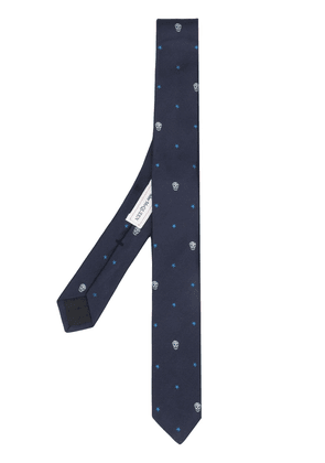 Alexander McQueen skull and star embroidered tie - Blue