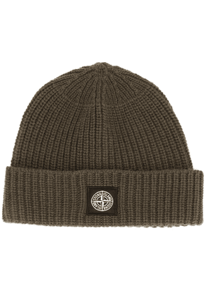 Stone Island ribbed wool beanie hat - Green