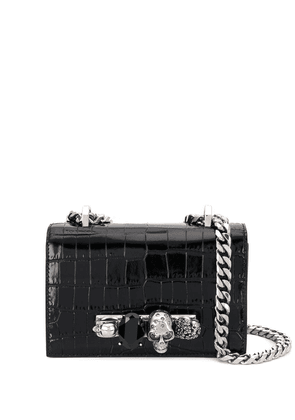 Alexander McQueen embellished leather crossbody bag - Black