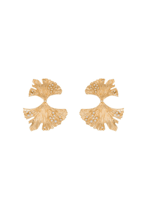 Apples & Figs 24K gold-plated Golden Hues Gingko crystal earrings -