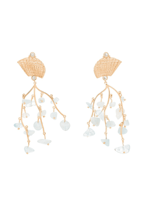 Apples & Figs 24K gold-plated Shell Crown aquamarine earrings - Blue
