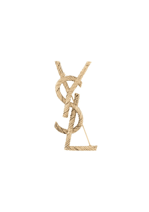 Saint Laurent monogram-motif brooch - GOLD