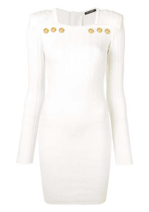 Balmain ribbed knit bodycon dress - White