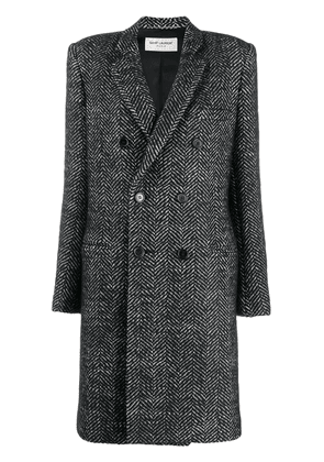 Saint Laurent herringbone double-breasted coat - Black