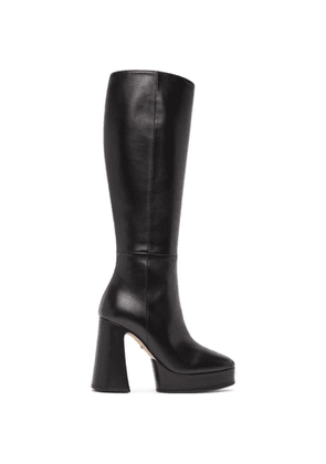 Gucci Black Leather Knee-High Boots