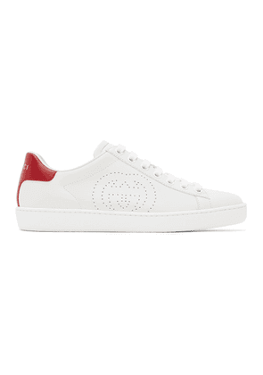 Gucci White and Red Interlocking G New Ace Sneakers
