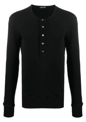 Tom Ford ribbed-knit cotton long sleeve - Black