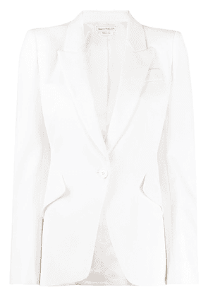 Alexander McQueen single-breasted peaked lapels blazer - White