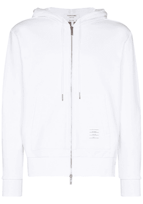 Thom Browne centre back stripe loopback cotton hoodie - White