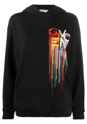Givenchy embroidered logo hooded sweatshirt - Black