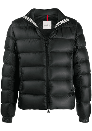 Moncler logo patch quilted jacket - Black