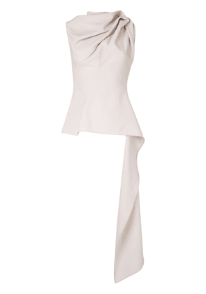 Maticevski high-neck draped peplum top - NEUTRALS