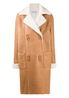 Loewe oversized textured double-breasted coat - Brown