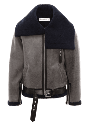 JW Anderson shearling aviator jacket - Grey