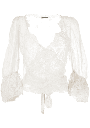 Cruciani lace wrap-around silk blouse - NEUTRALS