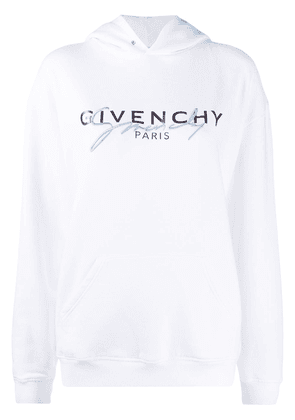 Givenchy embroidered logo hooded sweatshirt - White