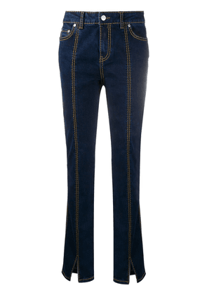 GANNI contrast stitching bootcut jeans - Blue